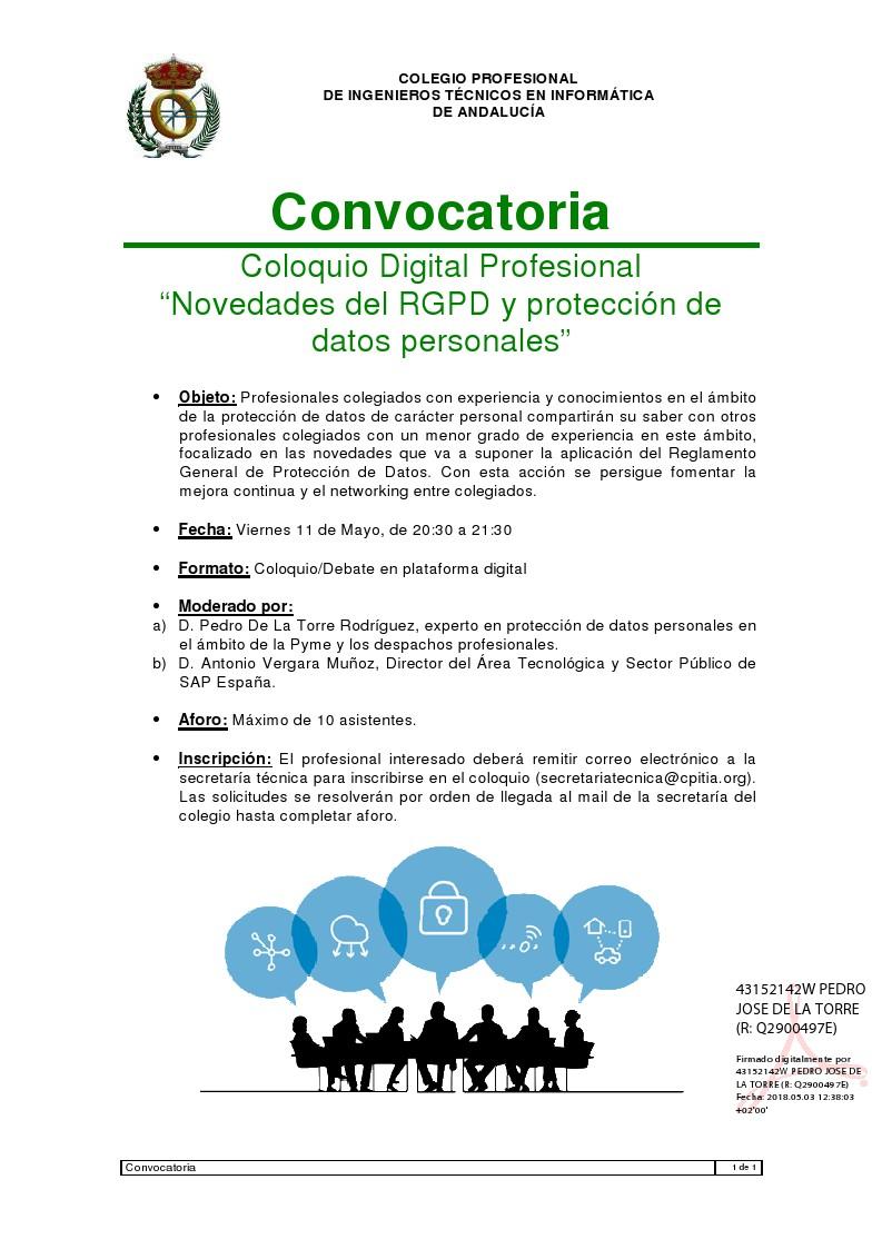 Coloquio: Novedades del RGPD y Protección de Datos
